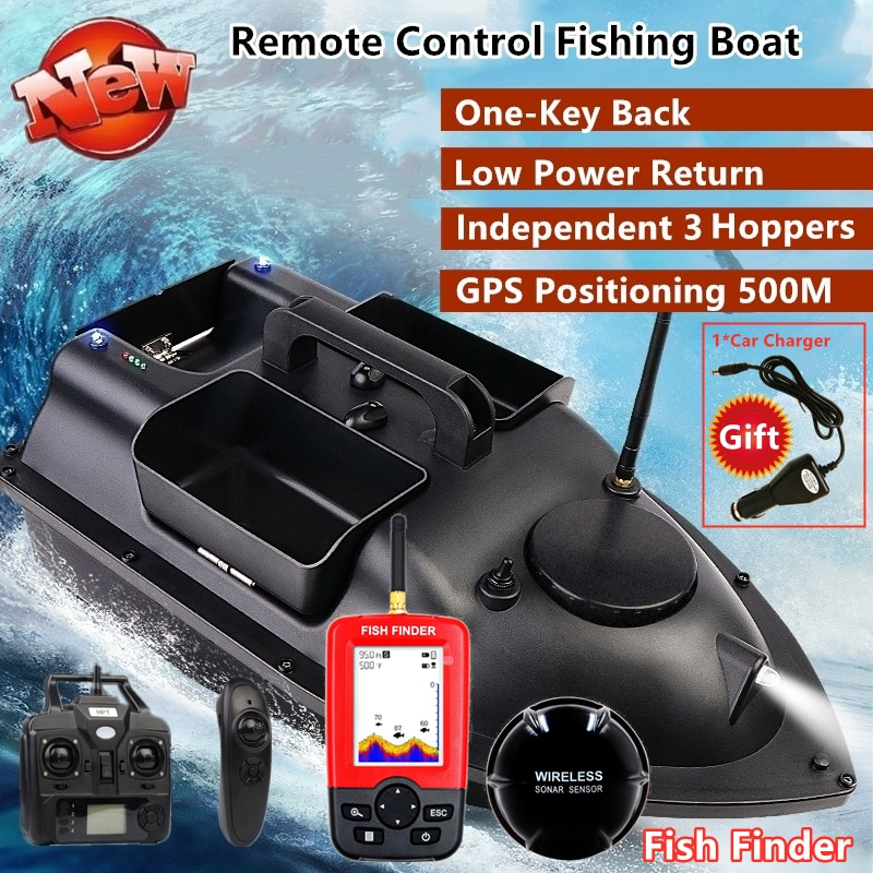 GPS Smart Rückkehr Fisch Finder RC Fischerboot Cruise GPS Positionierung 500M Independentt Control 3 Trichtern LCD Screen RC köder Boot